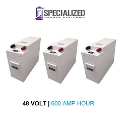 48 Volt 600 Amp Hour LIFEP04 Battery System (3) X 200 Ah