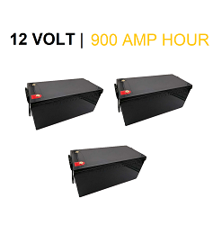 (THREE) x 12 Volt 300 Amp Hour LIFEP04 Lithium Batteries / 12V 900Ah Total