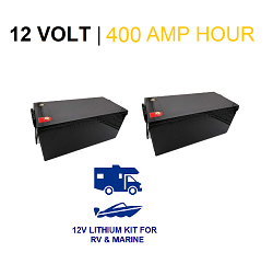 12 Volt 400 Amp Hour LIFEP04 Lithium Battery System for RV / Van/ Marine (250A Input Charge!)